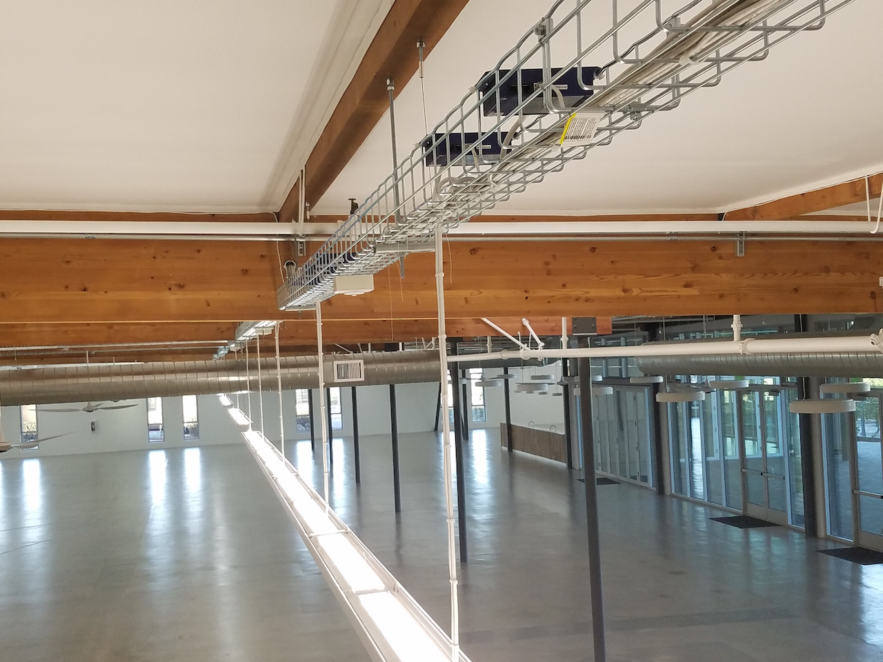 A NuLEDs installation powering LED lights and ceiling fans using the NuLEDs Spicebox solution.